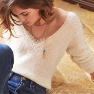 Sézane Black Lace Detail Sweater